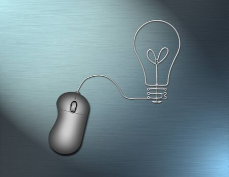 PC mouse with cord in shape of light bulb. 3D rendering