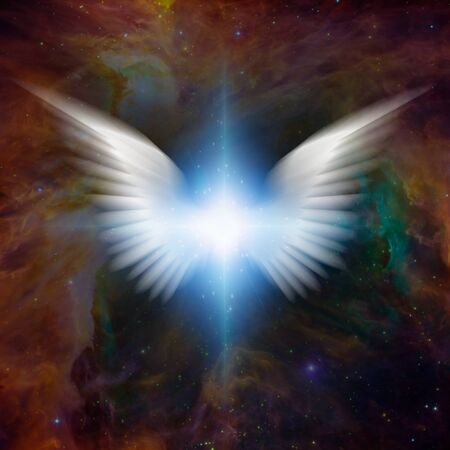 Surreal digital art. Bright star with white angels wings in vivid colorful universe