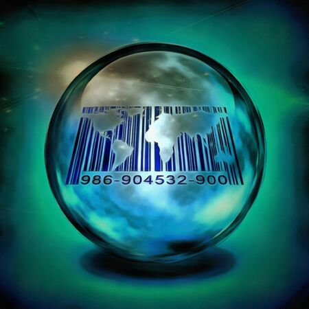 Barcode with worlds map inside crystal ball