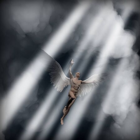 Man with wings represents raising angel