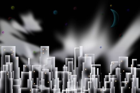 Abstract city. Night scene