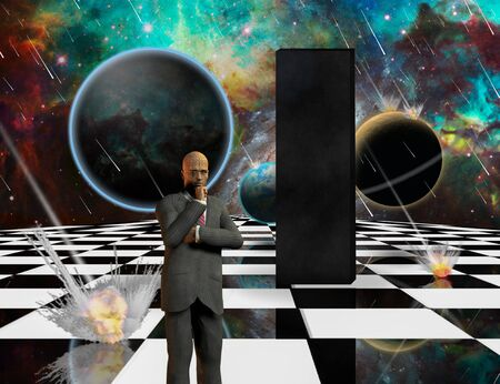 Planetary Armageddon. Massive meteorite - asteroid shower destroy planets. Black mystic monolith and thinking businessman on chessboard. 3D rendering Stock Photo