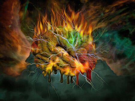 Colorful digital painting. Burning mind Stock fotó