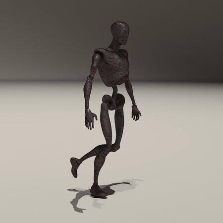 Rusted alien or droid. 3D rendering