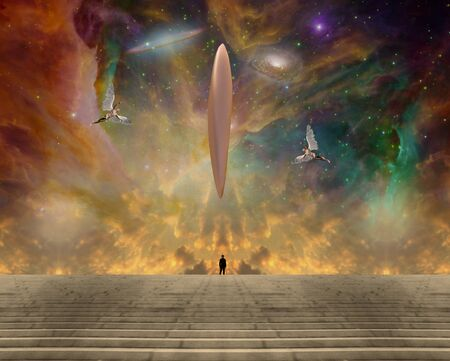 Meeting with creators. Giant UFO in vivid starry sky. Man in black suit and winged angels