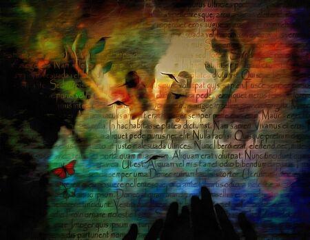 Surreal painting. Hands of prayer 版權商用圖片