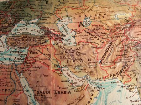 Middle East old map. 3D rendering