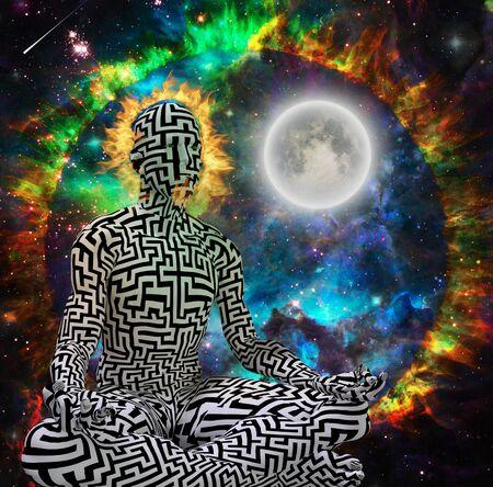 Spiritual modern art. Space Meditation. Maze man in lotus pose