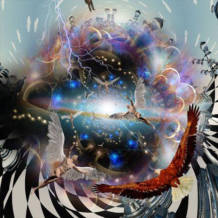 Vortex of Life. Surreal art. Angels and Eagle