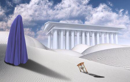 Désert surréaliste avec sablier. Temple blanc à l'horizon. Figure d'homme dans des vêtements similaires au hijab
