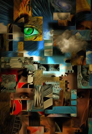 Complex surreal painting. Geometric elements, eye of God, flames of fire and ladder. Elements of human consciousness