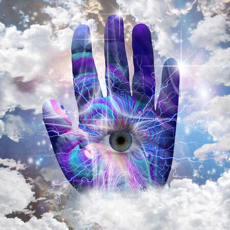 The Hand of Alien Creator. Eye on a human palm