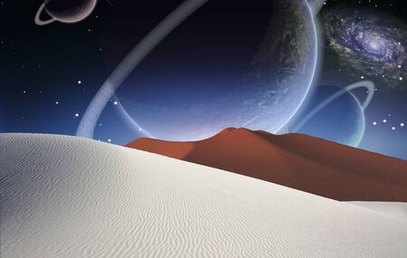 Surreal alien desert. Big planets in the starry sky