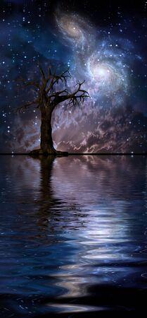 Arte digital surrealista. Viejo árbol en aguas tranquilas. Galaxias brillantes en el cielo