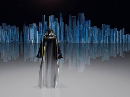 Traveler before the great city. Futuristic art Imagens