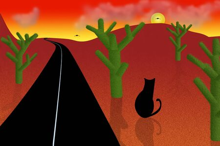 Road in the cartoon desert. Red sunset or sunrise, green cacti and black cat