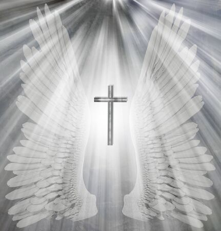Angel wings and shining holy light