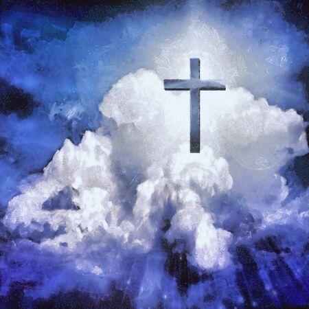 Cross in clouds. Spiritual painting Reklamní fotografie