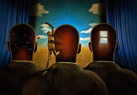 Surreal painting. Men with dreams in their head stands before drapes. Field behind drapes