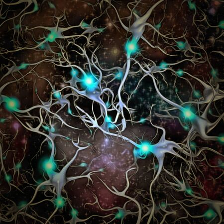 Neurons brain cells with electrical firing. Unique Sci-Fi Art