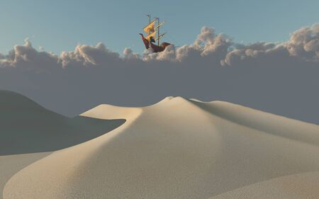 Ship in clouds above white desert