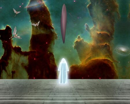 Surreal landscape. Shining human spirit and UFO. Spacecrafts and angels in vivid sky. White monk