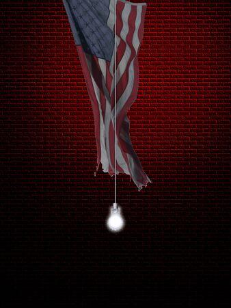 USA flag and light bulb as idea