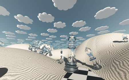 Chess pieces scattered in surreal desert