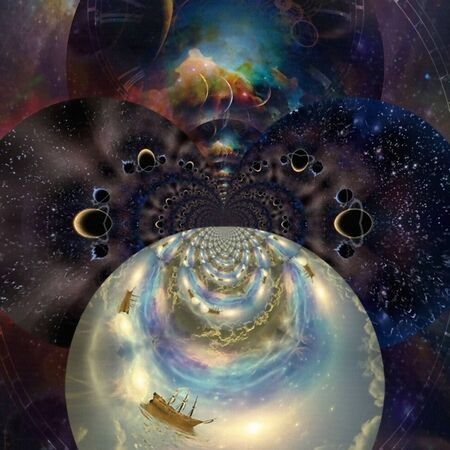Vivid Universe. Fractal of endless dimensions and fairy sail ship