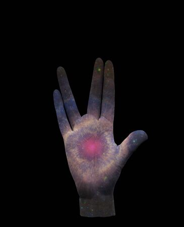 Live Long and Prosper. Stars in human palm