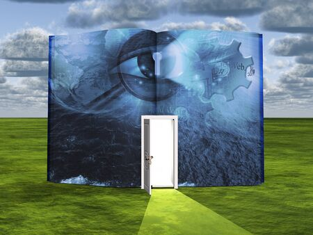 Web surfing. Book with opened door, keyhole, eye and gears