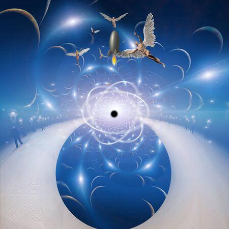 Ángeles espaciales. Modelo de átomo o materia oscura