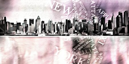Modern digital painting. New York skylie