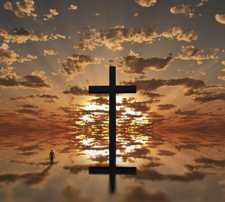 Man near giant cross with sunrise background Banco de Imagens - 134852642
