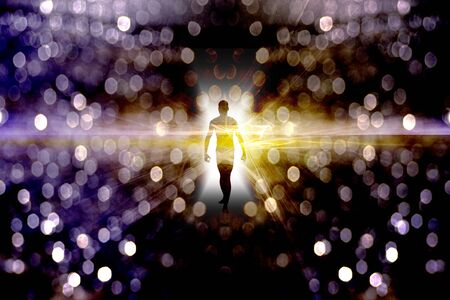 Eternal Soul. Bright aura or human silhouette in endless space Standard-Bild