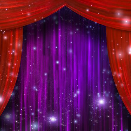 Red and Purple Theater Curtains. 3D rendering