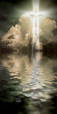 Shining Cross Hangs in Sky over Water Banco de Imagens