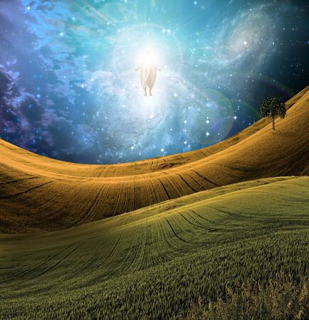 Figure of Light Appears in Sky over Beautiful Landscape Stock Photo