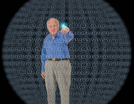 Senior before hologram sphere interface. Futuristic content