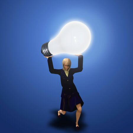 Conceptual art. Woman holds giant light bulb. Big Idea