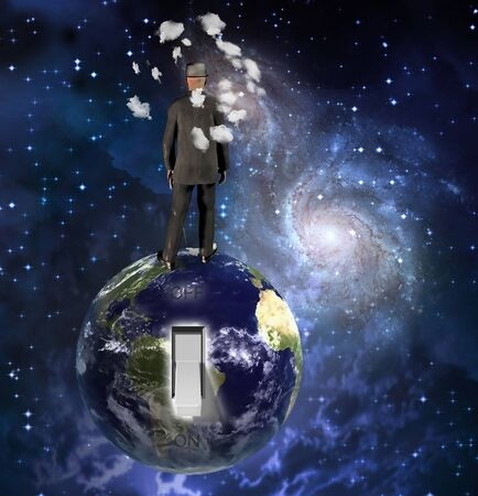 Switch On The Earth. Man in suit stands on planet