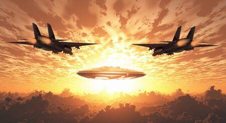 Military Jets Pursue UFO. Sunset or sunrise