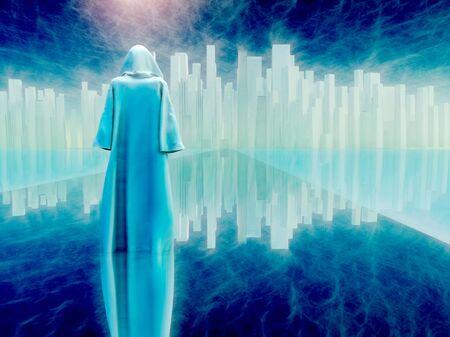 Pilgrimage. White robed traveler journeys to holy city Stock fotó