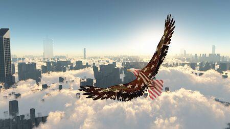 Eagle flies above megapolis. Freedom Stock Photo