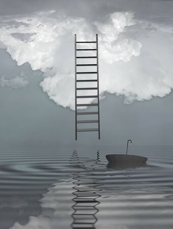Ladder reflected in water with floating umbrella Stock Photo
