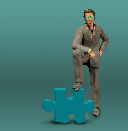 Successful Businessman Leans on Puzzle Piece