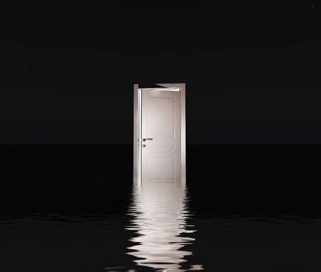 Partly closed door emits light. 3D rendering