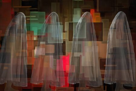 Ghostly figures and geometric abstract art Stock Photo