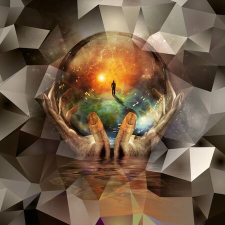 Glass ball in hands with abstract background