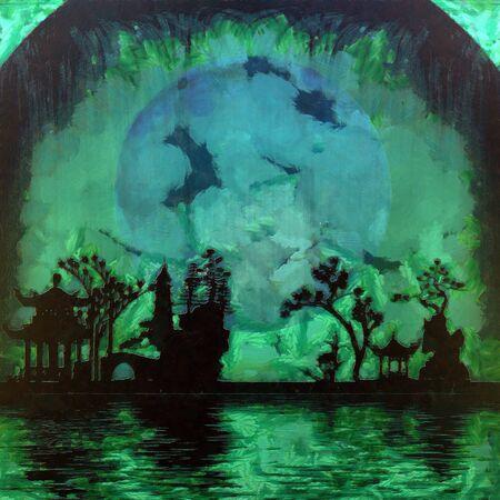 Asian silhouettes. Oriental garden. 3D rendering